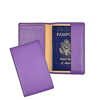 Royce Leather – Porte-passeport et porte-document de voyage en cuir véritable, estampage argenté, nom complet