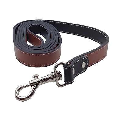 Royce Leather 6' Dog Leash in Genuine Leather, Silver Foil Stamping, 3 Initials