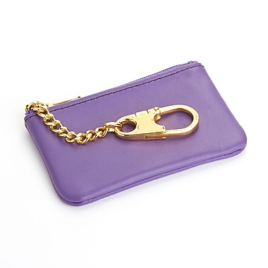 Royce Leather Slim Coin & Key Holder Wallet in Genuine Leather, Purple, Gold Foil Stamping, Full Name