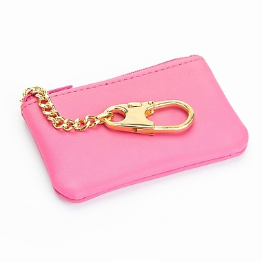 Royce Leather Slim Coin & Key Holder Wallet in Genuine Leather, Pink, Silver Foil Stamping, Full Name