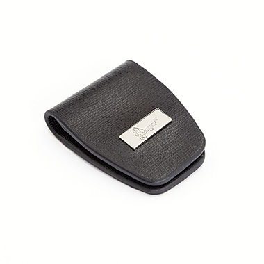 Royce Leather Slim Magnetic Money Holder Wallet in Saffiano Leather, Black, Silver Foil Stamping, 3 Initials
