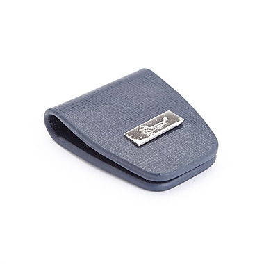 Royce Leather Slim Magnetic Money Holder Wallet in Saffiano Leather, Blue, Silver Foil Stamping, 3 Initials
