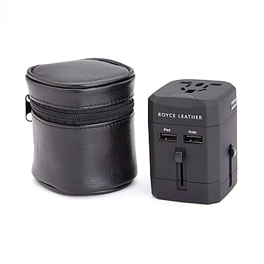 Royce Leather International Travel Adapter in Genuine Leather Case, Gold Foil Stamping, Full Name