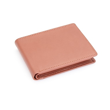 Royce Leather – Portefeuille repliable anti-RFID professionnel en cuir véritable, estampage argenté, nom complet