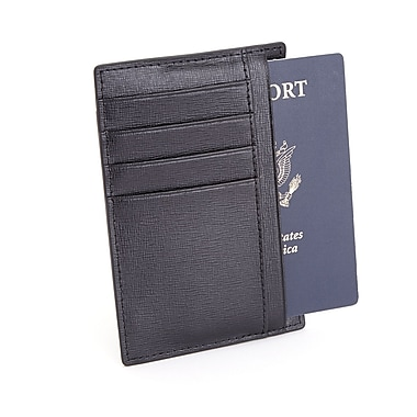 Royce Leather RFID Blocking Slim Travel Passport Wallet in Saffiano Genuine Leather, Black