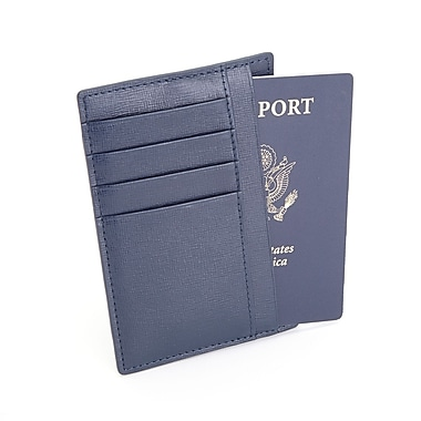 Royce Leather RFID Blocking Slim Travel Passport Wallet in Saffiano Genuine Leather, Blue, Silver Foil Stamping, Full Name