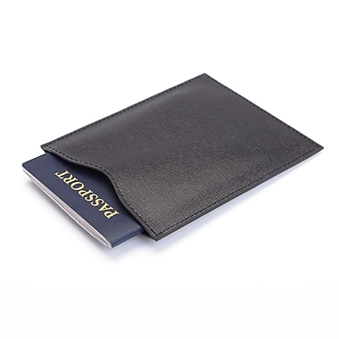 Royce Leather RFID Blocking Passport Sleeve in Italian Saffiano Leather, Black, Silver Foil Stamping, 3 Initials