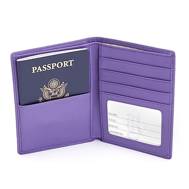 Royce Leather RFID Blocking Bifold Passport Currency Travel Wallet in Leather, Purple, Silver Foil Stamping, 3 Initials