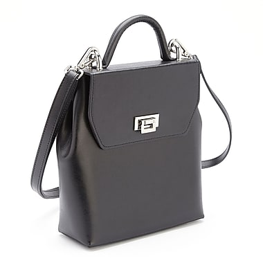 Royce Leather RFID Blocking Convertible Backpack Handbag in Saffiano Leather, Silver Foil Stamping, 3 Initials