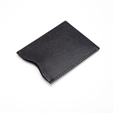 Royce Leather RFID Blocking Credit Card Sleeve in Saffiano Genuine Leather, Black, Silver Foil Stamping, 3 Initials
