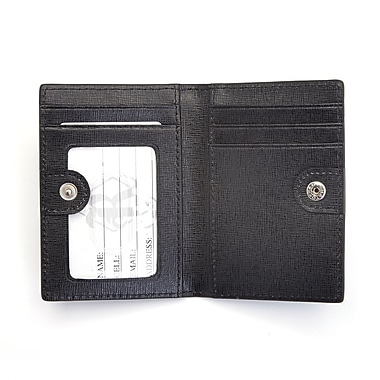 Royce Leather RFID Blocking ID Card Case Wallet in Italian Saffiano Leather, Gold Foil Stamping, Full Name