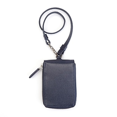 Royce Leather RFID Blocking Zippered Key Case Wallet in Saffiano Leather, Blue, Silver Foil Stamping, Full Name