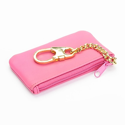 Royce Leather Chic Genuine Leather Key Case Holder and Coin Pouch Wallet, Pink (605-WB-5)
