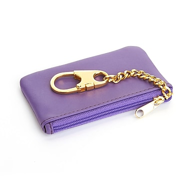 Royce Leather Chic Genuine Leather Key Case Holder and Coin Pouch Wallet, Purple (605-PURPLE-5)