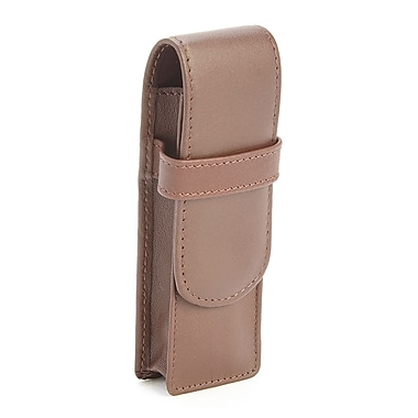 Royce Leather 2 Slot Double Fountain Pen Case in Genuine Leather, Brown, Debossing, 3 Initials