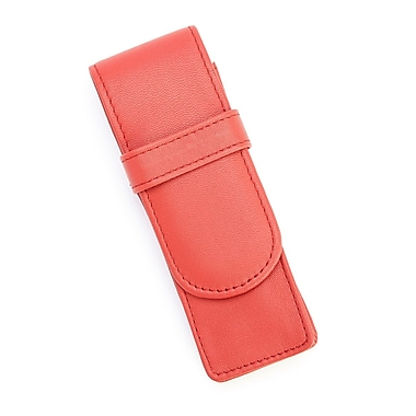 Royce Leather 2 Slot Double Fountain Pen Case in Genuine Leather, Red, Debossing, 3 Initials