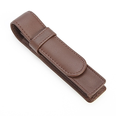 Royce Leather 1 Slot Single Fountain Pen Case in Genuine Leather, Brown, Debossing, Full Name