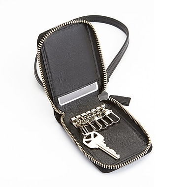 Royce Leather RFID Blocking Zippered Key Case Wallet in Saffiano Leather, Black, Silver Foil Stamping, 3 Initials
