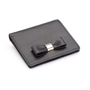 Royce Leather – Mini portefeuille à boucle « Sarah » en cuir italien Saffiano avec blocage RFID, estampage argenté, 3 initiales