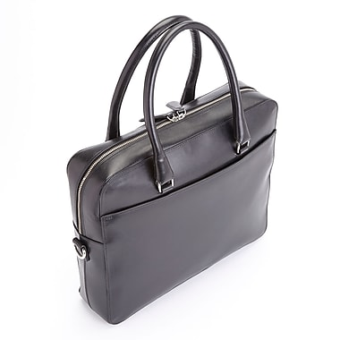 Royce Leather RFID Blocking Executive Travel Briefcase in Saffiano Genuine Leather, Silver Foil Stamping, 3 Initials