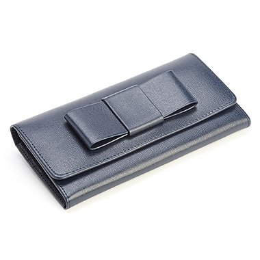 Royce Leather RFID Blocking Large Bow Wallet in Saffiano Leather, Blue, Debossing, 3 Initials
