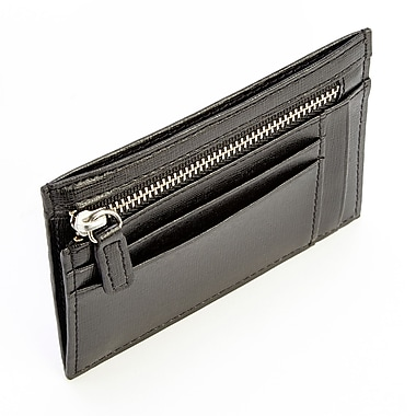 Royce Leather RFID Blocking Slim Card Case Wallet in Saffiano Leather, Black, Debossing, Full Name
