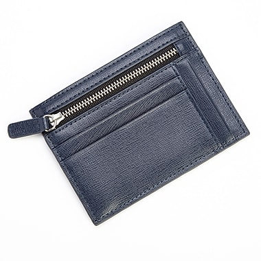 Royce RFID Blocking Slim Card Case Wallet in Saffiano Leather, Blue