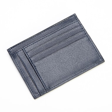 Royce Leather RFID Blocking Slim Card Case Wallet in Saffiano Leather, Blue, Gold Foil Stamping, Full Name
