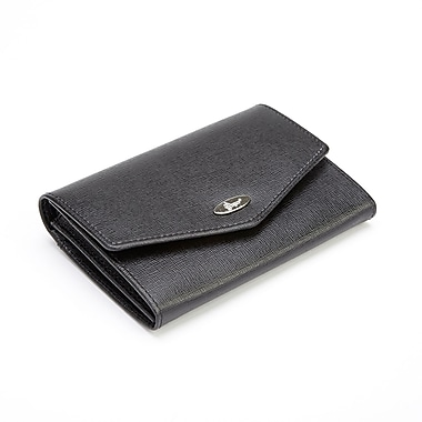 Royce Leather RFID Blocking Luxury French Purse Wallet in Saffiano Genuine Leather, Silver Foil Stamping, Full Name