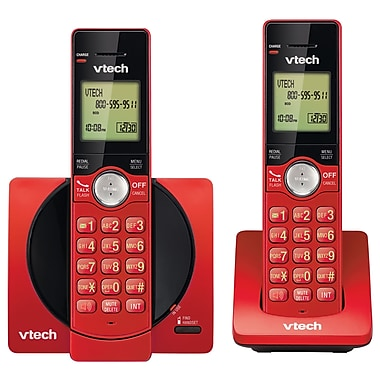 Vtech CS6919-26 2-Handset Cordless Phone with Caller ID/Call Waiting, Red