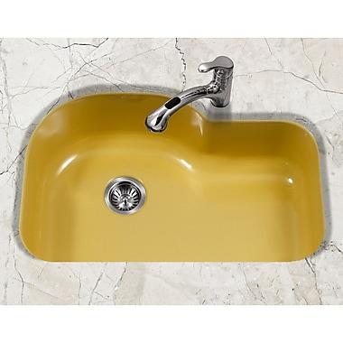 Houzer Porcela 31.26'' x 20.67'' Porcelain Enamel Offset Undermount Kitchen Sink; Lemon