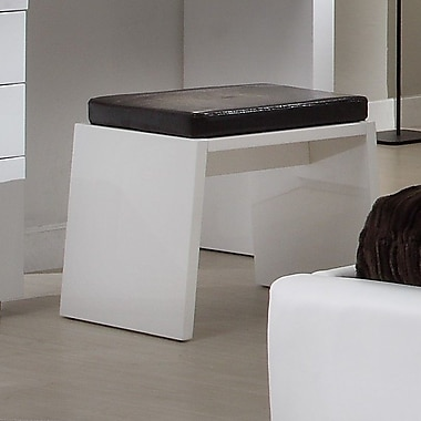 At Home USA Athens Accent Stool; White High Gloss