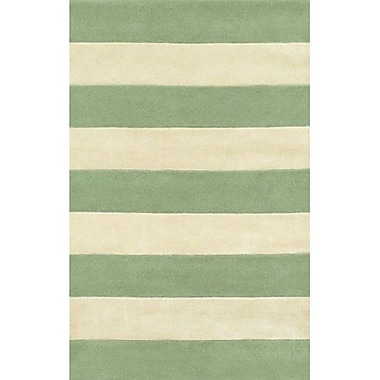 American Home Rug Co. Beach Seafoam/Ivory Boardwalk Stripes Area Rug; 8' x 11'