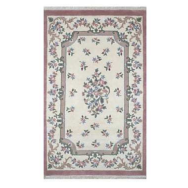 American Home Rug Co. French Country Aubusson Ivory/Rose Floral Area Rug; Rectangle 3' x 5'