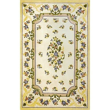 American Home Rug Co. Floral Garden Aubusson Ivory/Yellow Area Rug; Oval 3' x 5'