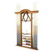 The Level Best Deluxe Wall Pool Cue Rack; Classic Oak