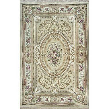 American Home Rug Co. French Elegance Aubusson Floral Hand-Tufted Wool Beige/Ivory Area Rug