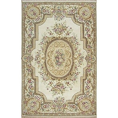 American Home Rug Co. French Elegance Aubusson Floral Hand-Tufted Wool Ivory Area Rug; Round 6'