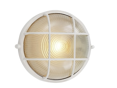 TransGlobe Lighting 1-Light Outdoor Bulkhead Light; White