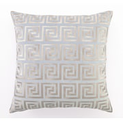 D.L. Rhein Embroidered Greek Key Linen Throw Pillow; Blue