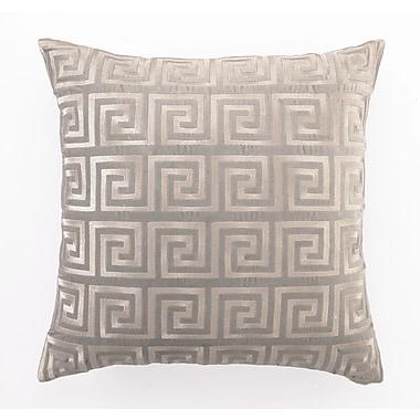 D.L. Rhein Embroidered Greek Key Linen Throw Pillow; Grey