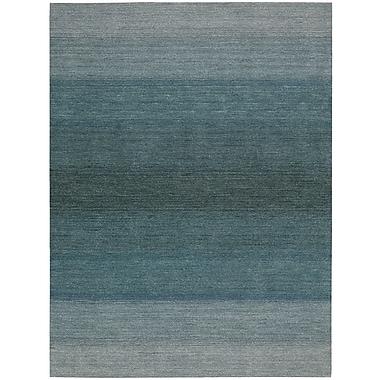 Calvin Klein Rugs Linear Glow Hand-Woven Watercolor Aqua Area Rug; Rectangle 7'9'' x 10'10''