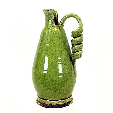 Woodland Imports Antiquated Traditional Ceramic Tuscan Vase; Green