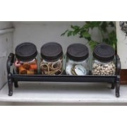 Creative Co-Op Inspired Home 4 Piece Storage Jar Set w/ Cast Iron Stand