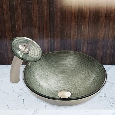 Vigo Simply Silver Glass Vessel Bathroom Sink and Waterfall Faucet with; Brushed Nickel