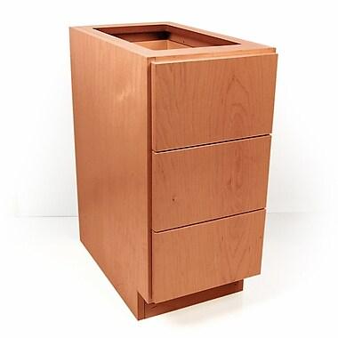 D'Vontz MDV Modular Cabinetry 3 Drawer Base; Golden Oak
