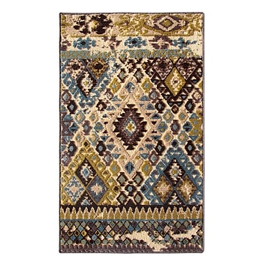 Regence Home Tribal Council Teal/Beige Area Rug; 1'8'' x 2'10''