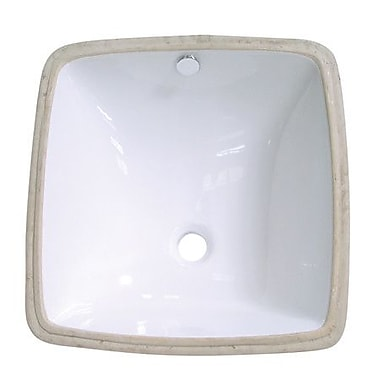 Kingston Brass Vista Ceramic Square Undermount Bathroom Sink w/ Overflow; White