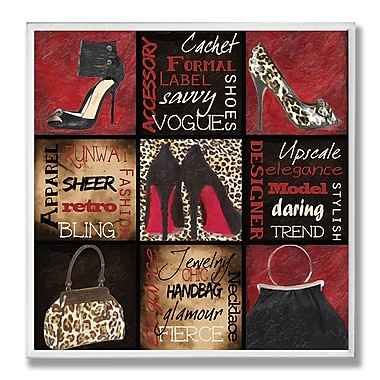 Stupell Industries Fashionista 9 Patch Red Bottoms and Such Textual Art Wall Plaque