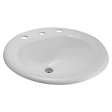 Zurn Metal Oval Drop-In Bathroom Sink w/ Overflow; 8'' Centers